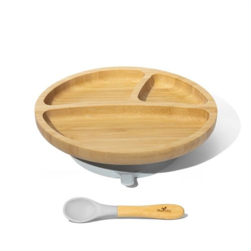 Bambusowy talerz dzielony z przyssawką i łyżeczką Avanchy szara