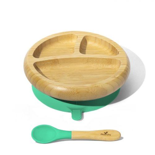 Bambusowy talerzk dzielony z przyssawką Avanachy + łyżeczka zielony