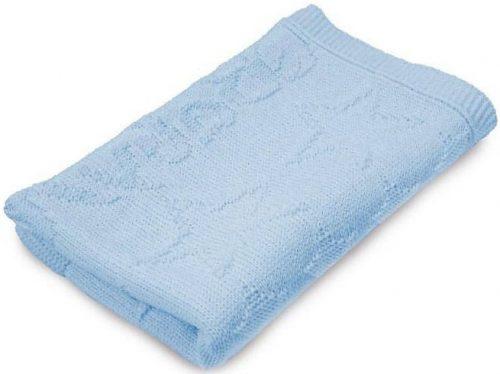 Akrylowy kocyk do wózka łóżeczka 75x100 niebieski