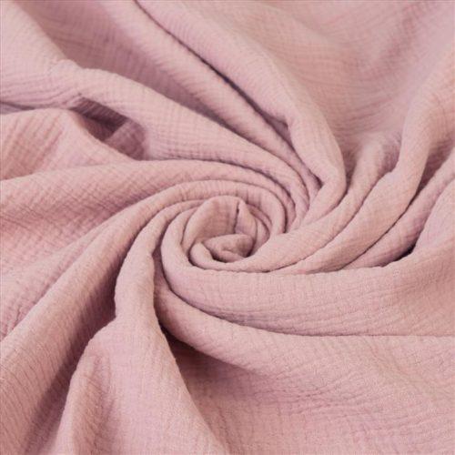 Muślinowy kocyk dwuwarstwowy 100% bawełna 75x100 szaro różowy