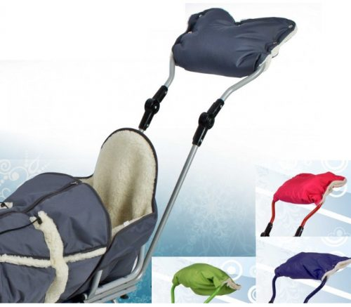 Mufka na rączkę sanek lub wózków  z kożuszkiem granatowa