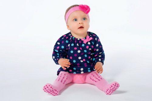 Rajstopy dla dziecka z ABS 92-98 różowe serca
