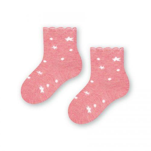 Skarpetki niemowlące Steven 11-13 różowe gwiazdki